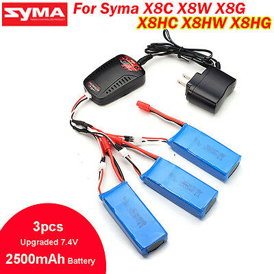 3pcs Upgraded 7.4V 2500mAh 25C Battery+Balance Charger For Syma X8W X8C RC Drone