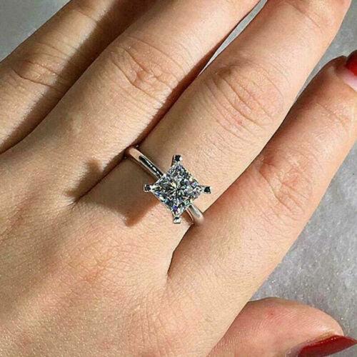 2 CT Princess CUT DIAMOND SOLITAIRE ENGAGEMENT RING 14K WHITE GOLD Finish