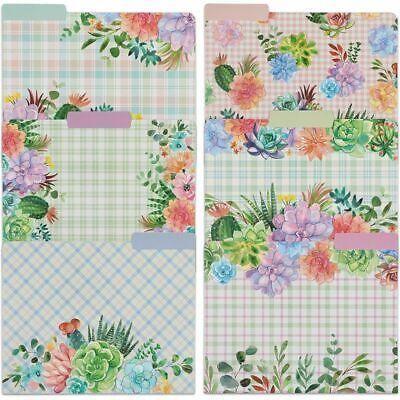 Decorative File Folders 13 Cut Tabs Cactus Succulents Letter Size 12 Pack
