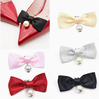 1 Pc Removable Shoes Decor Bow Ribbon Shoe Clip Womens Accessories Charms Pearl Pearl Shoe Clips