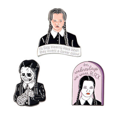The Addams Family Inspired Wednesday Addams Pin Badge Gothic with Skull Version - The Addams Family Wednesday