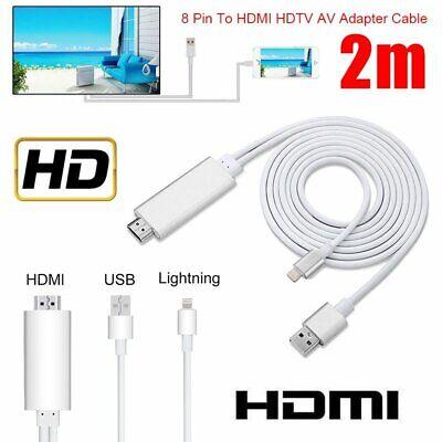 8 Pin Lightning à HDMI TV AV 2m Adaptateur de câble pour iPhone 11 Pro Max iPad