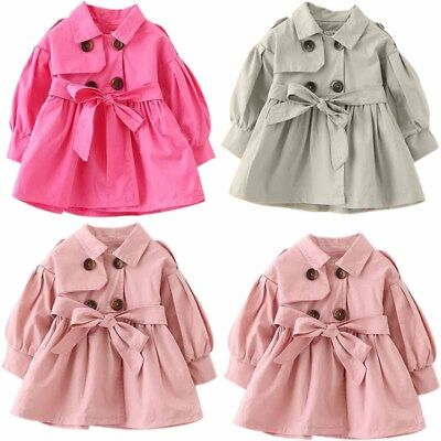 Kids Toddler Baby Girls Winter Trench Coat Jacket Outerwear