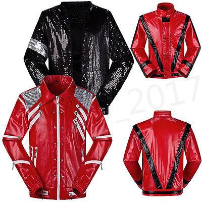 Men Lady Michael Jackson Costume Billie Jean Thriller Beat it Jacket Fancy Dress