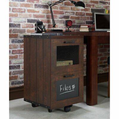 Furniture Of America Brynn Industrial Filing Cabinet In Vintage Walnut