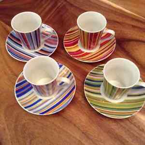 Set of 4 Espresso Cups and Saucers, Maxwell Williams