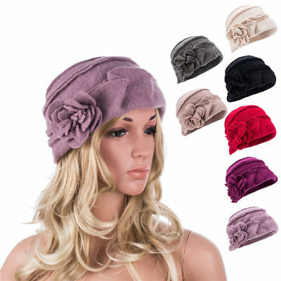 Solid Color 1920s Womens 100% Wool Flower Winter Warm Bucket Cap Beret Hat A376
