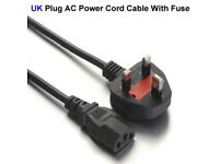 Quality mains UK 3 pin power cable forTVs,monitors,printers,&all other 3 pin devices at £5 3 for £10