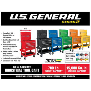 """30"""" 5 Drawer Mechanic's Tool Cart in 6 Glossy Colors - New Stock"""