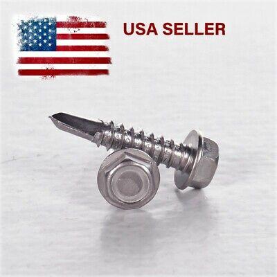 8 10 Hex Washer Head Self-drilling Sheet Metal Tek Screws 410 Stainless Steel