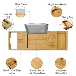 Luxury Bamboo Bathtub Caddy Tray with Non-Slip Rubber Grips