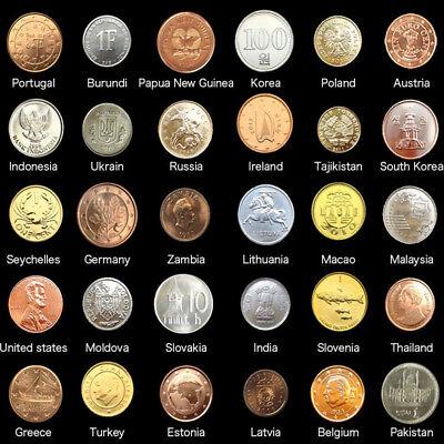 Set Lot 30 PCS Coins From 30 Different Countries,UNC,Korea