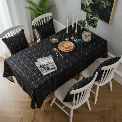 Black And White Geometric Table Cloth Kitchen Dinner Tablecloth Nappe Cover