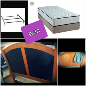 TWIN Mattress, boxspring, headboard & frame