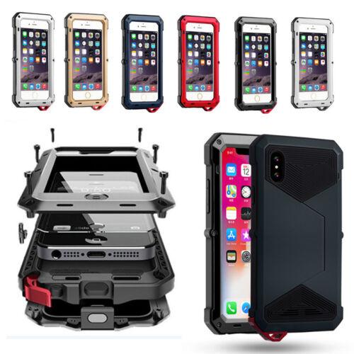 Aluminum Heavy Duty Triple Layer Shockproof Armor Metal Glass Case Fr iPhone 8/X