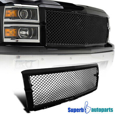 For 2014-2015 Chevy Silverado 1500 ABS Mesh Front Hood Grille Glossy Black