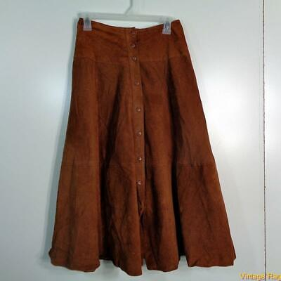 PIA RUCCI A-Line Sexy Soft Suede Leather Skirt Size 8 Brown