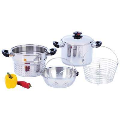 Stainless Steel 8qt Stockpot/Spaghetti Cooker w Deep Fry Basket, Steamer Inserts