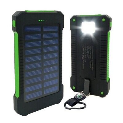 50000mAh Portable Solar Power Bank 2 USB Charger Waterproof