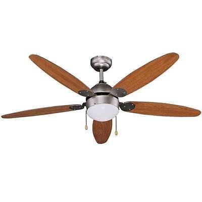 Vinco 70922 Ventilatore da per soffitto 1 Luce 65W 5 pale funz.estiv/inver legno
