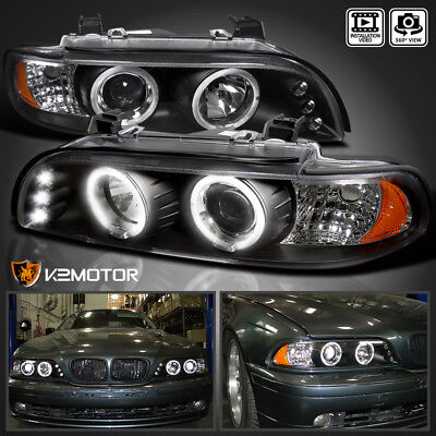 1996-2003 BMW E39 525I 530I M5 LED Halo Projector Black Headlights Left+Right for sale  Walnut