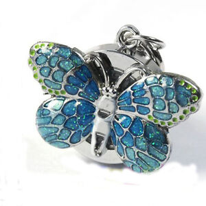 Blue-Butterfly-Womens-Mens-Key-Ring-Pocket-Watches-Quartz-Accessories-Gift-Box