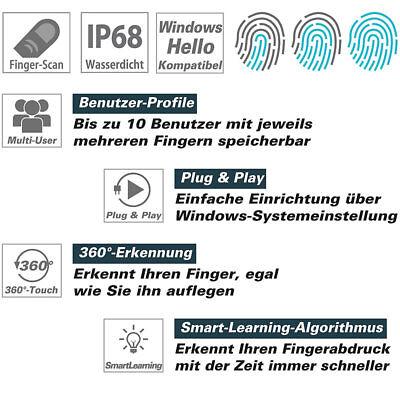 Fingerscanner: Kleiner USB-Fingerabdruck-Scanner für Windows 10, 10 Profile