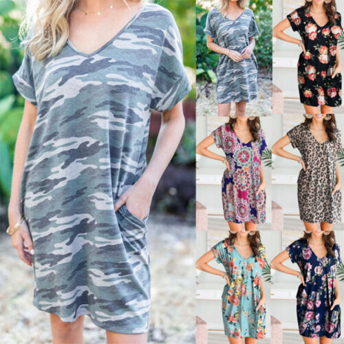 Women Camouflage V Neck Short Sleeve Pencil Mini Dress Causal Short Sundress Clothing, Shoes & Accessories