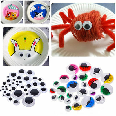 100pcs 5-35mm Plastic Wiggle Googly Eyes Self-Adhesive for DIY Dolls Kids Crafts (Wiggle Eyes)