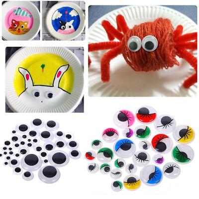 - 100pcs 5-35mm Plastic Wiggle Googly Eyes Self-Adhesive for DIY Dolls Kids Crafts