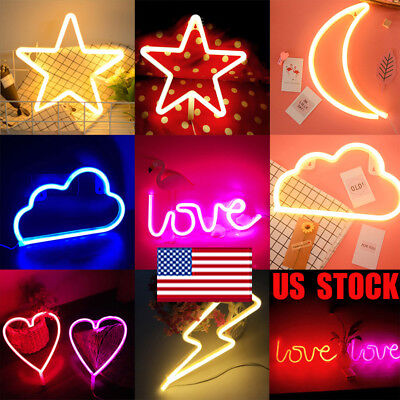 Cloud Moon Star Neon Led Sign Light Love Lightning Wall Poster Christmas Props
