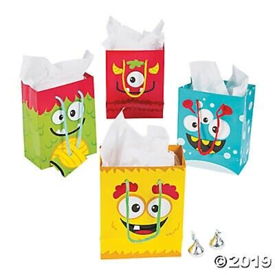 Halloween Goodie Bags (HALLOWEEN ~ 12 Monster Paper Gift Treat Goody Bags Handles Birthday Party)
