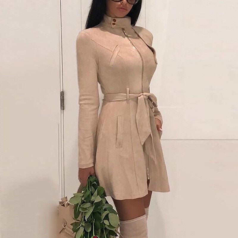 Women Long Trench Jacket Slim Mini