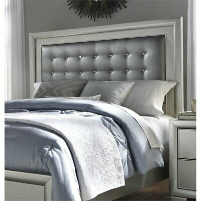 Beaumont Lane Upholstered Queen Panel Headboard in Silver