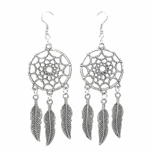 Delicate Jewelry Retro Silver Plated Dream Catcher Drop Dangle Earring Gift TR1