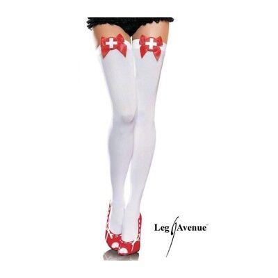 Naughty Nurse Thigh Highs. New in box. White with red. One Size. COSTUME Leg Ave ()