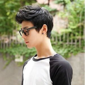 Fashion Handsome Boys Full Wig  Korean Short Black Men's Male Hair Cosplay Black