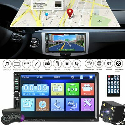 """7"""" Car Radio DVD CD Bluetooth MP5 Player Touch Screen GPS US Map 2DIN + Rear Cam"""