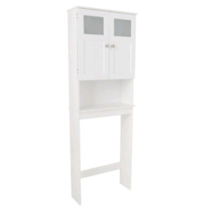 Zenith Products Wood Frosted Glass Window Spacesaver, White