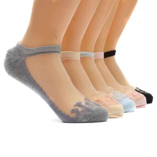 Fashion Women Cute Ultrathin Transparent Crystal Silk Lace Elastic Short Socks