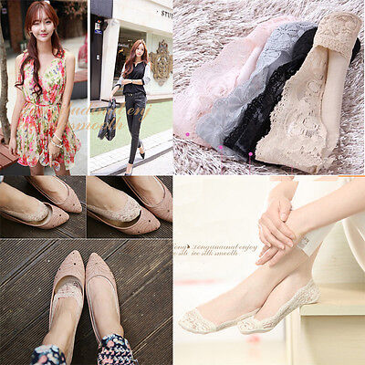 Hot Sale Cozy Korean Womens Elastic Cotton Lace Antiskid Invisible Low Cut Socks