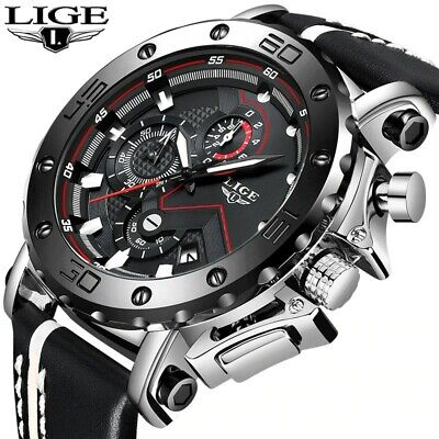 LIGE men's watch, luxury military quartz, fashion casual waterproof business wat