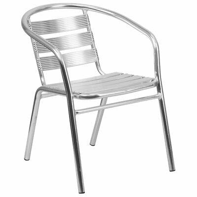Flash Furniture Metal Stacking Patio Chair in Silver ()