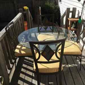 Small  glass table with stand & 4 chairs