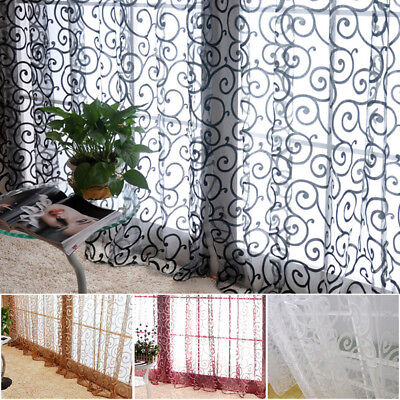 Lace Window Curtains (Floral Lace Door Window Curtain Room Drape Panel Voile Tulle Sheer Scarf)