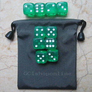 Lot-10-Green-6-Sided-D6-16mm-RPG-D-D-D20-Game-Dice