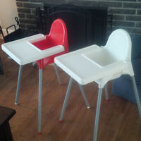 2 Chaises hautes ikea démontable - 2 highchairs for babies