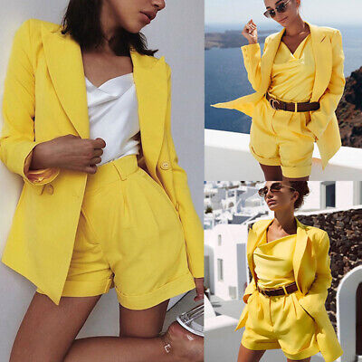 Womens Office Suit Ladies Blazer Jacket Long Sleeve Coat High Waist Pants 2Pcs