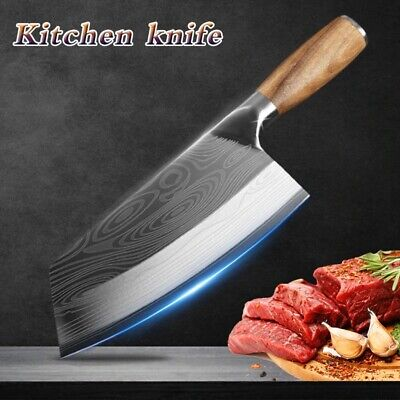 Kitchen Knife Damascus Laser Pattern Chinese Chef Knife Stainless Steel Butcher
