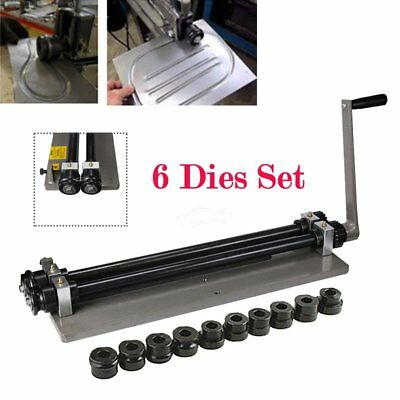 Sheet Metal Bead Roller Machine Steel Gear Drive Bench Mount 18-gauge 6 Dies Set